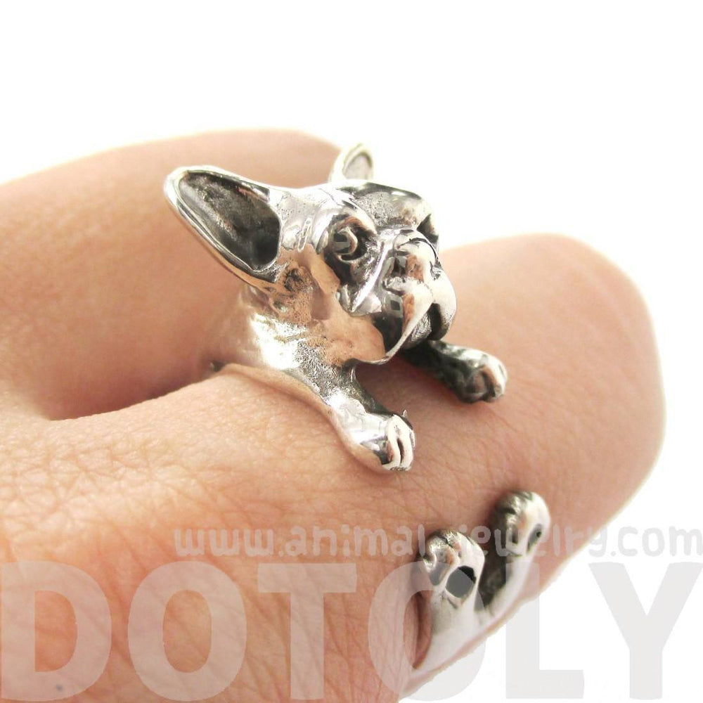 French Bulldog Shaped Animal Wrap Around Ring in 925 Sterling Silver | US Sizes 4 to 8 | DOTOLY