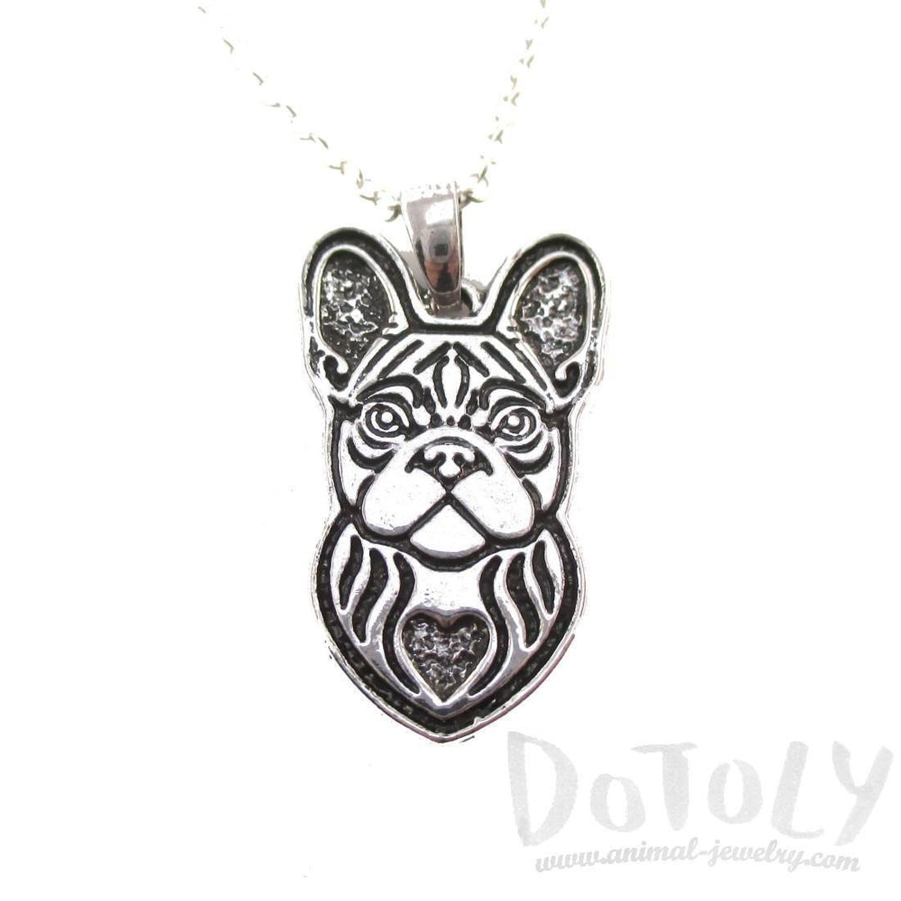 French Bulldog Shaped Pendant Necklace in Silver | Animal Jewelry | DOTOLY