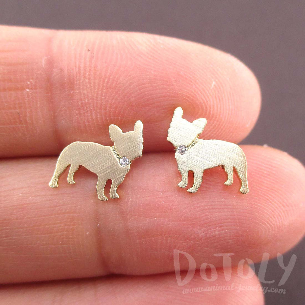 French Bulldog Silhouette Shaped Rhinestone Stud Earrings in Gold