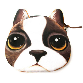 French Bulldog With Puppy Eyes Face Shaped Soft Fabric Zipper Coin Purse Make Up Bag | DOTOLY