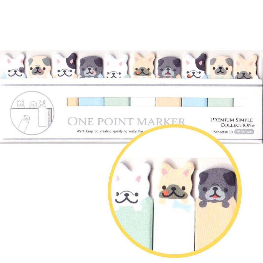 French Bulldogs and Pugs Shaped Animal Themed Sticky Post-it Memo Bookmark Tabs | DOTOLY