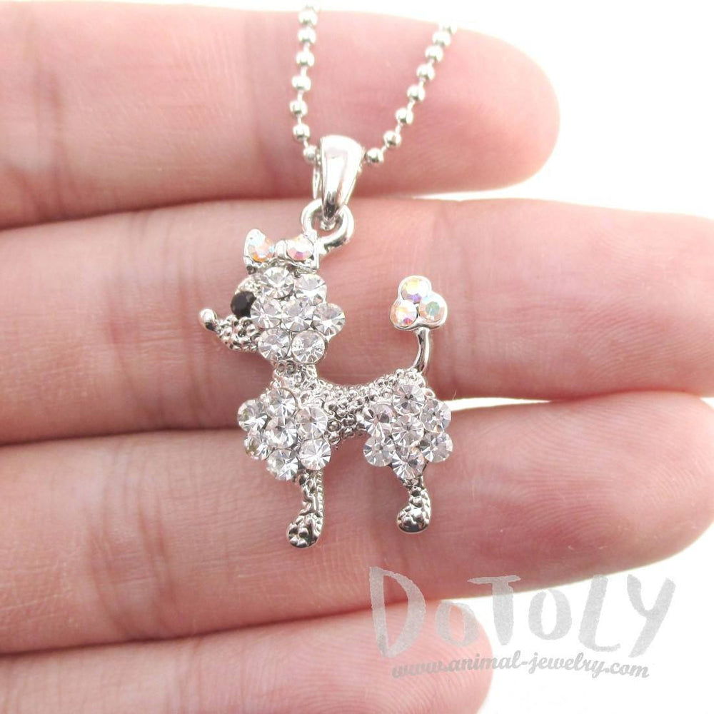 French Poodle Dog Shaped Pendant Necklace in Silver with Rhinestones