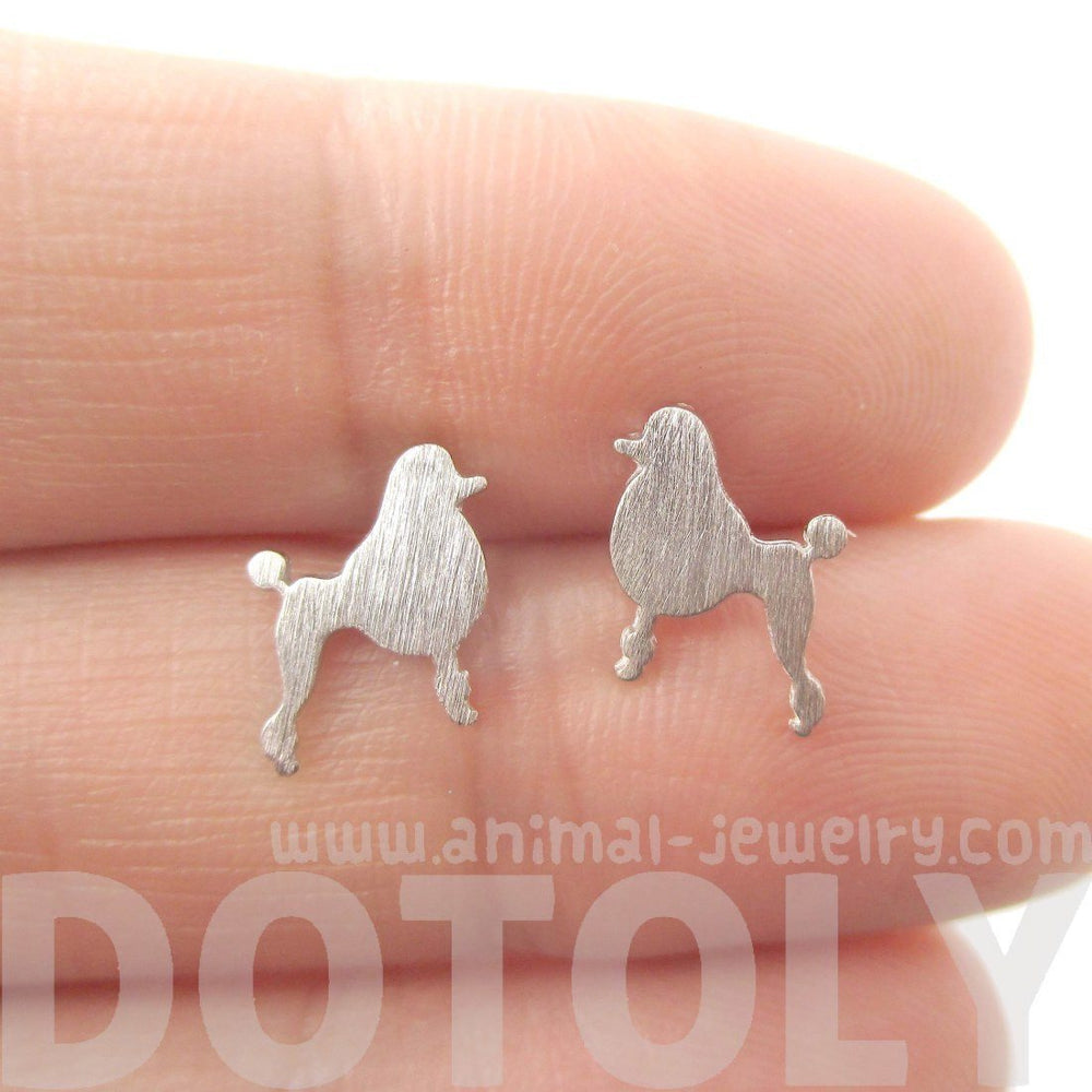 French Poodle Dog Shaped Silhouette Stud Earrings in Silver | DOTOLY | DOTOLY