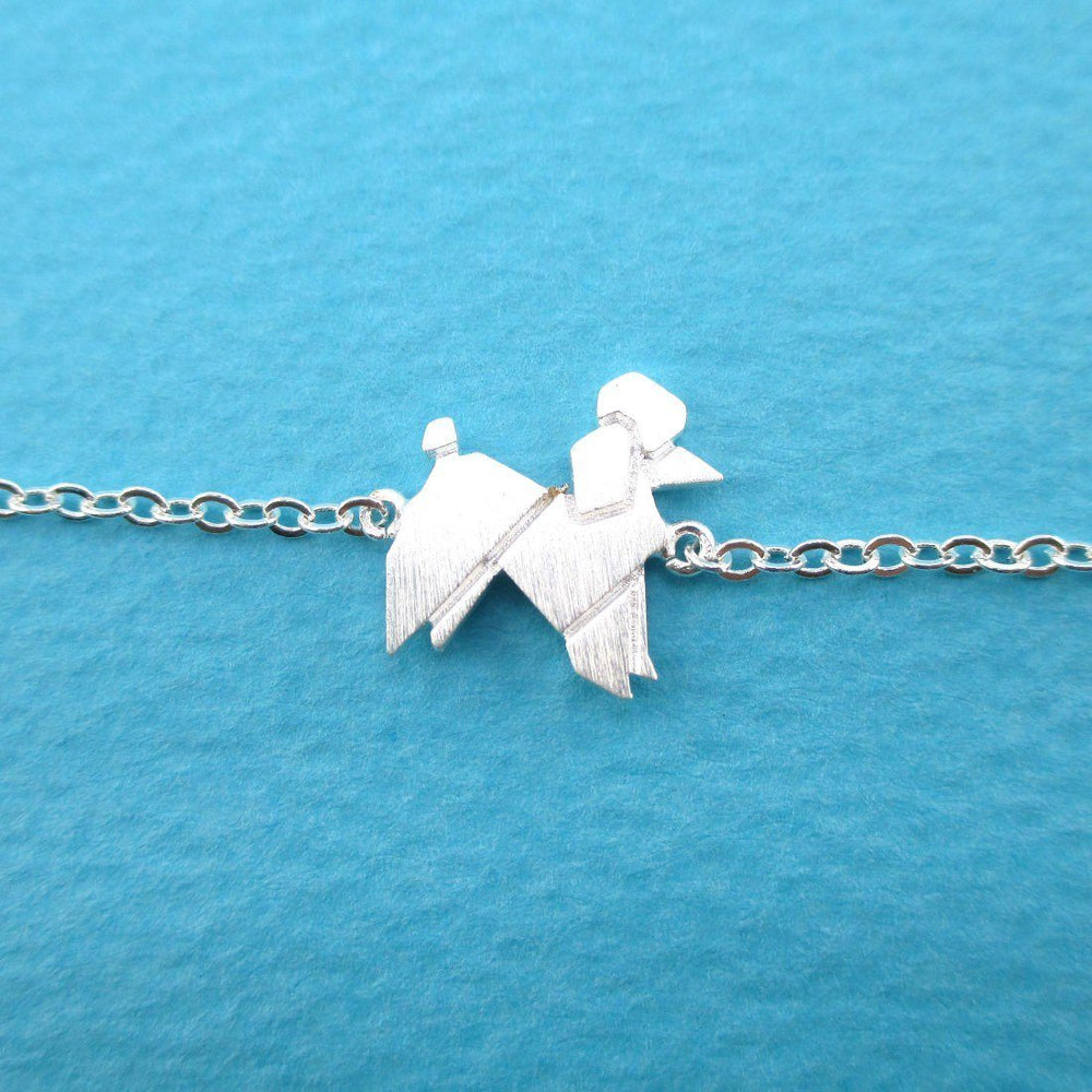 French Poodle Origami Shaped Charm Bracelet in Silver | DOTOLY