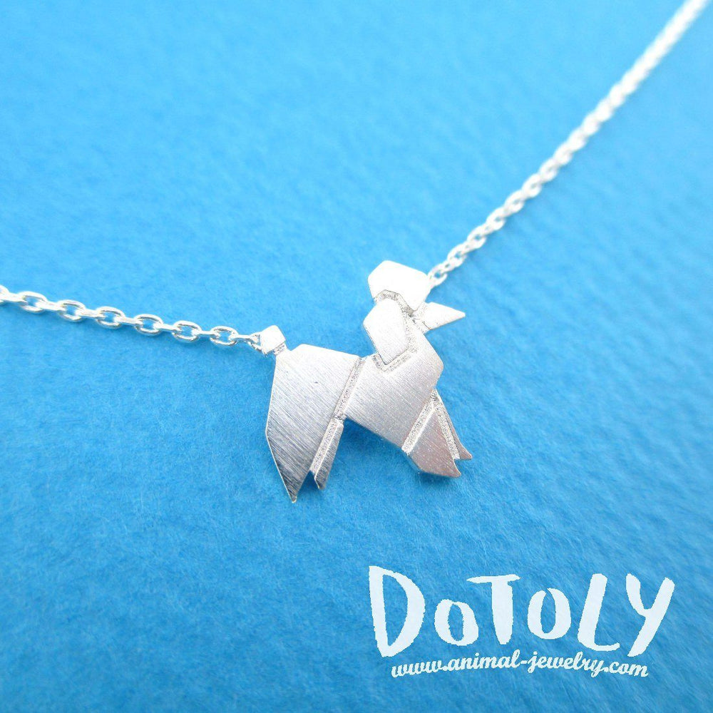 French Poodle Origami Dog Shaped Pendant Necklace in Silver | Animal Jewelry | DOTOLY