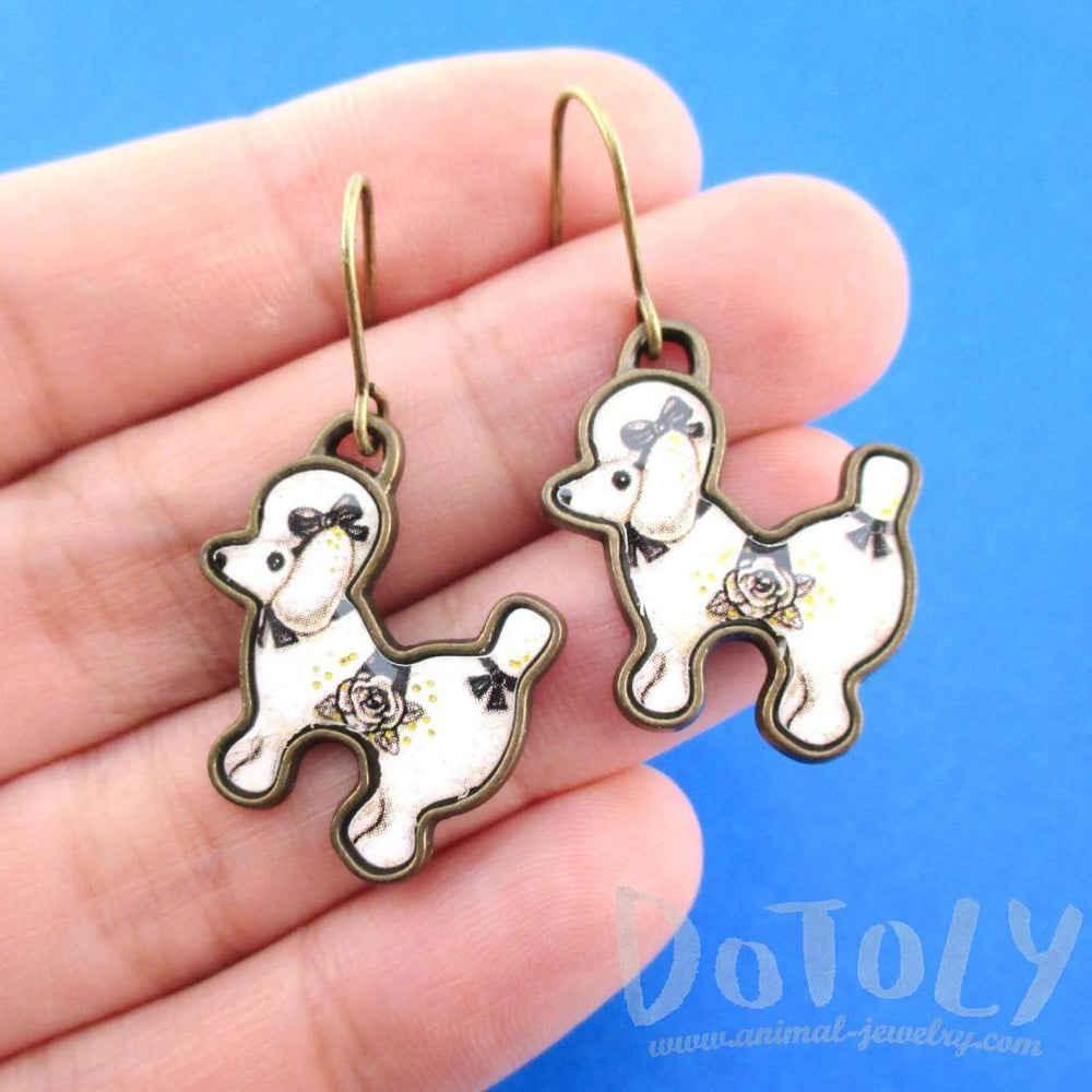 French Poodle Puppy Shaped Dangle Drop Earrings in Black and White | Animal Jewelry | DOTOLY