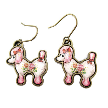 French Poodle Puppy Shaped Dangle Drop Earrings in Pink | Animal Jewelry | DOTOLY