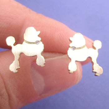French Poodle Puppy Shaped Silhouette Stud Earrings in Silver or Gold