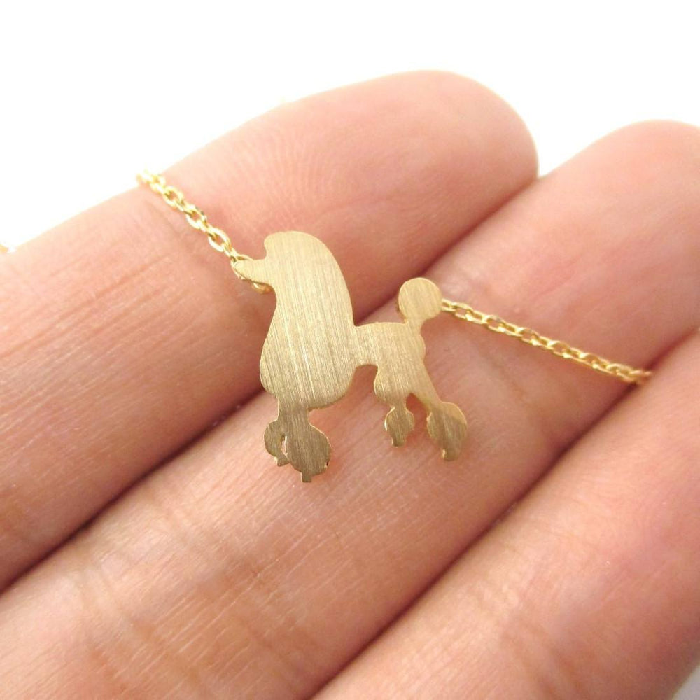French Poodle Silhouette Shaped Pendant Necklace in Gold | Animal Jewelry | DOTOLY