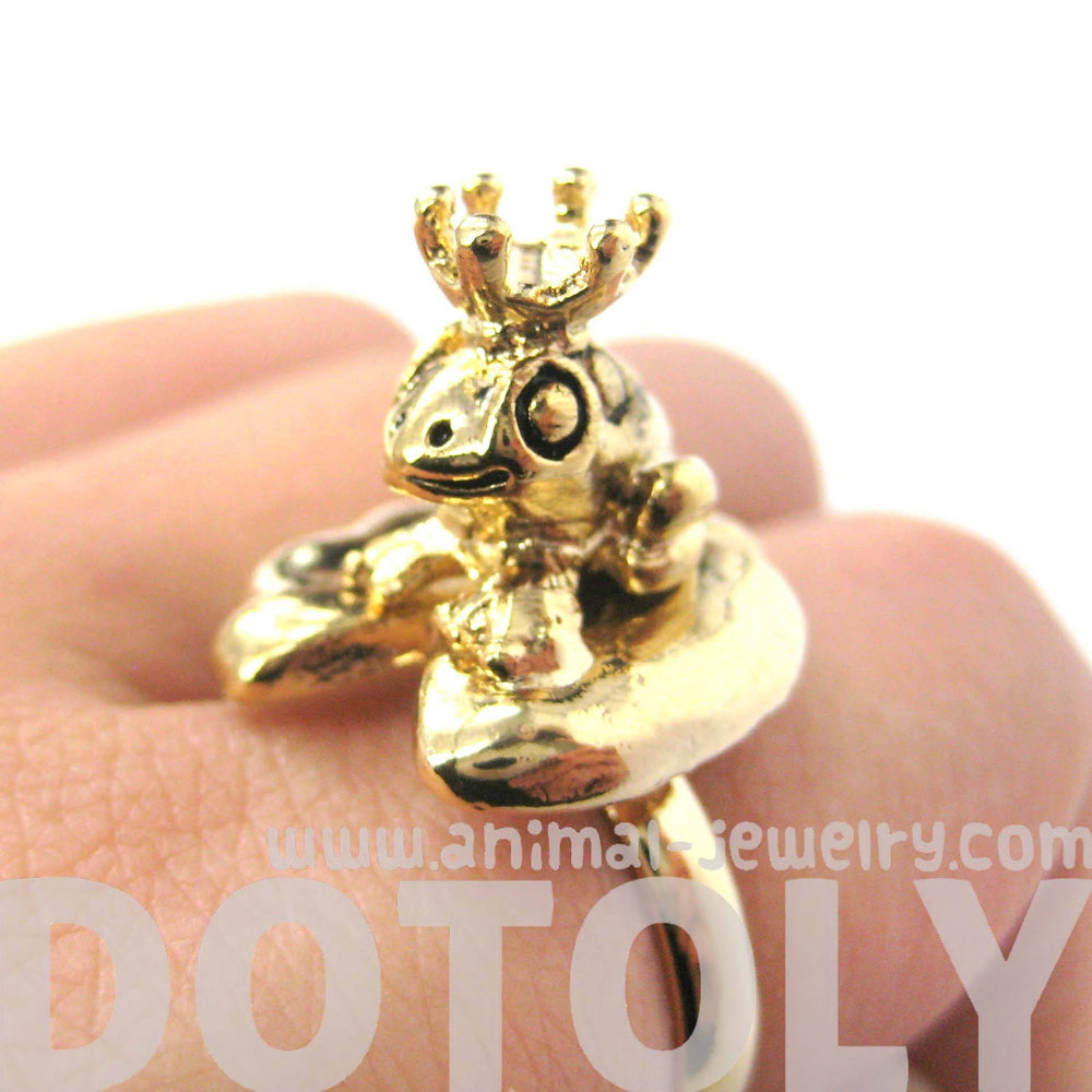 Frog Prince Toad on A Lily Pad Animal Themed Adjustable Ring in Shiny Gold | DOTOLY