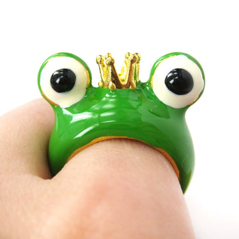 Frog Prince with Crown Enamel Animal Ring in US Size 6.5 and 7 | Animal Jewelry | DOTOLY