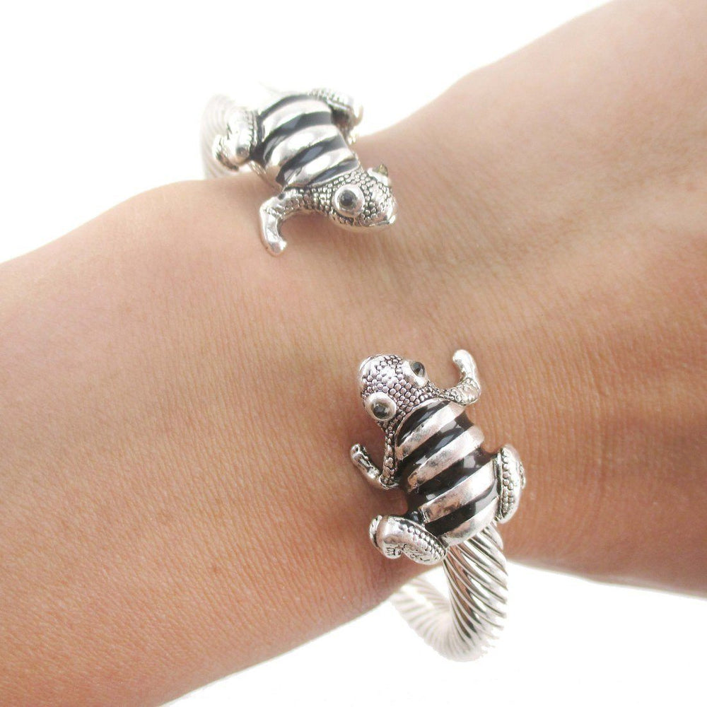 Frog Shaped Open Bangle Bracelet Cuff in Silver | DOTOLY