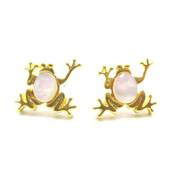 Frog Toad Shaped Animal Themed Stud Earrings in Gold with Pearl Detail | DOTOLY | DOTOLY