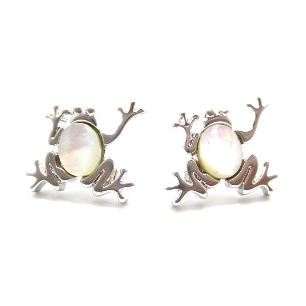 Frog Toad Shaped Animal Themed Stud Earrings in Silver with Pearl Detail | DOTOLY | DOTOLY