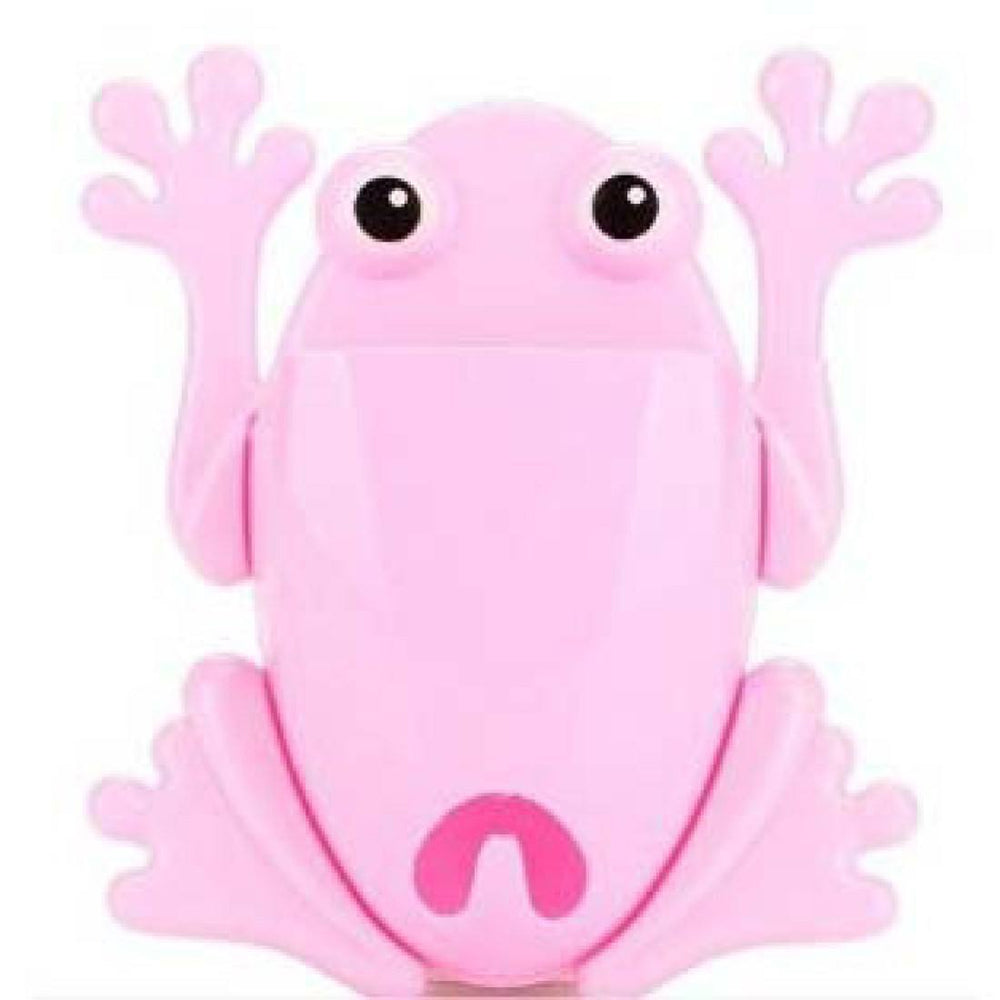 Froggy Frog Shaped Toothbrush Holder Make Up Organizer Bathroom Stand in Pink | DOTOLY