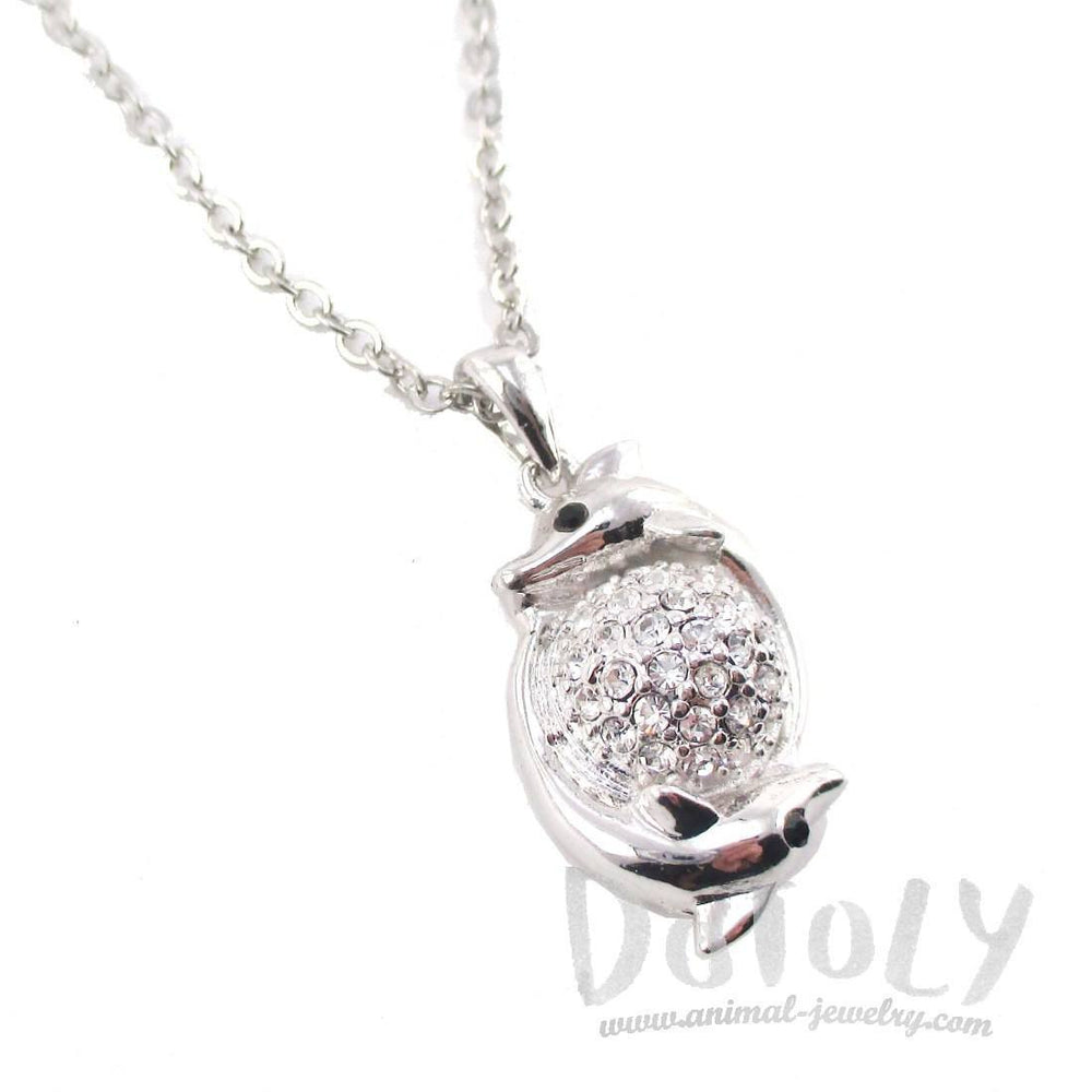 Frolicking Dolphins Shaped Unity Pendant Necklace in Silver | DOTOLY