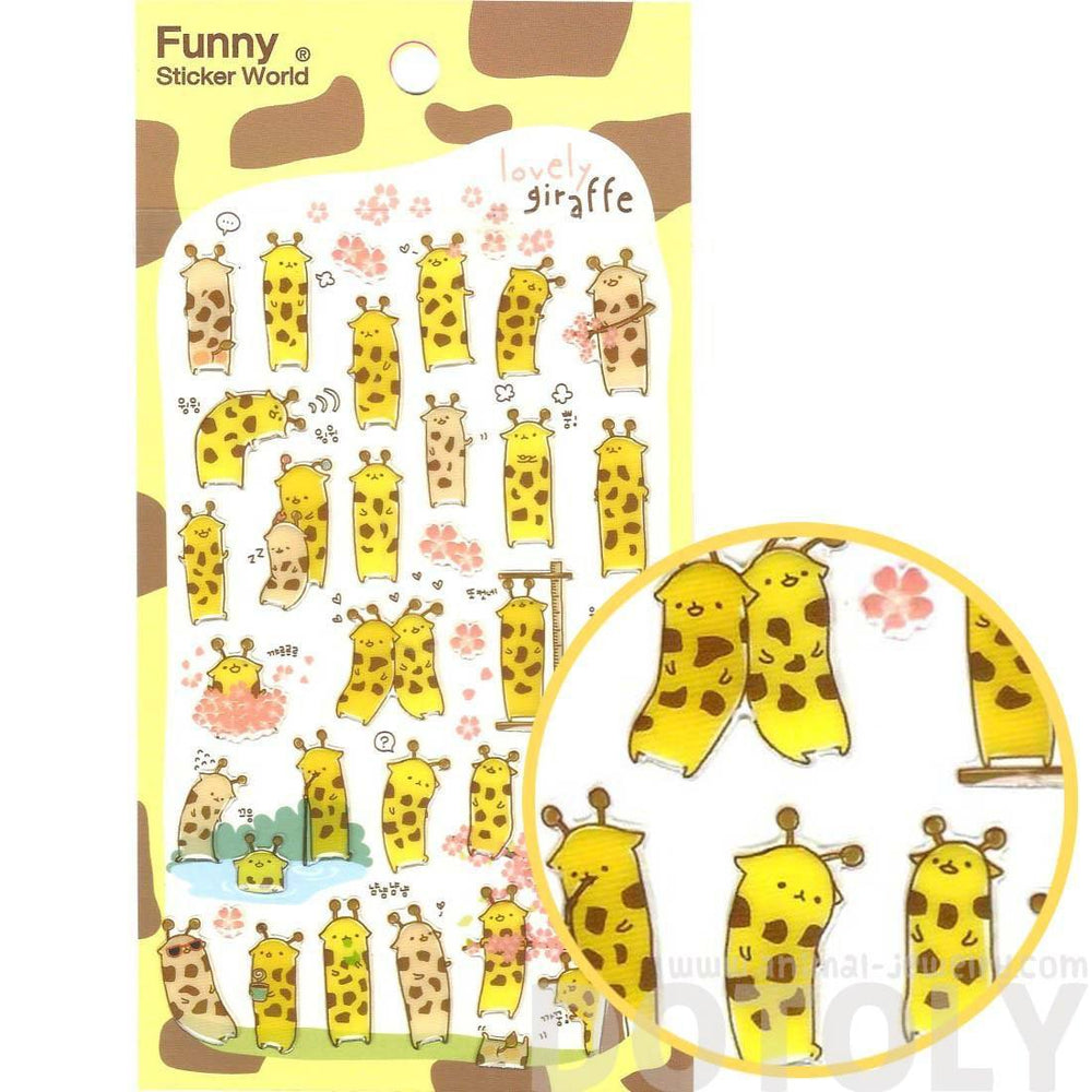 Funny Giraffe Shaped Illustrated Animal Themed Jelly Stickers for Scrapbooking and Decorating | DOTOLY