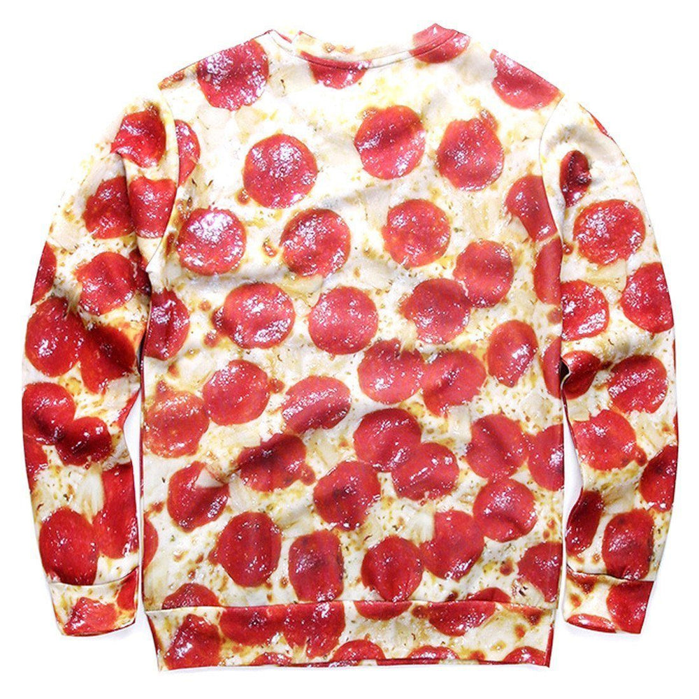 Funny Pizza and Sexy Abs All Over Digital Print Unisex Sweater | DOTOLY | DOTOLY