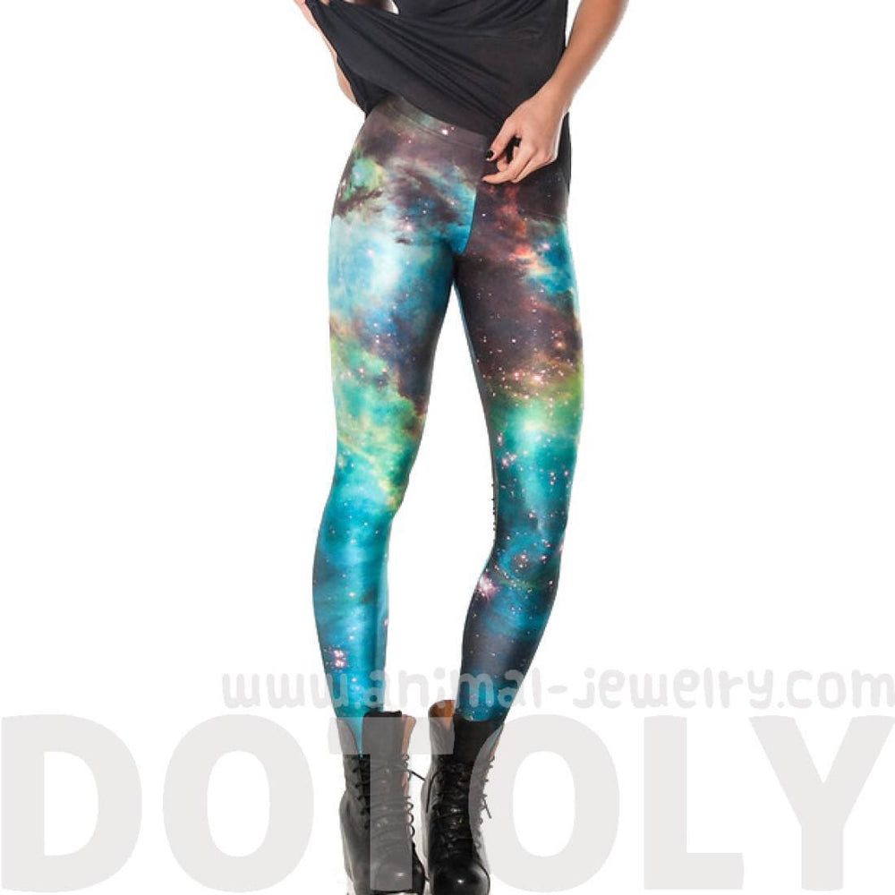 Galaxy Stars Universe Space Nebula Sky Digital Print Legging Pants for Women in Green and Blue | DOTOLY