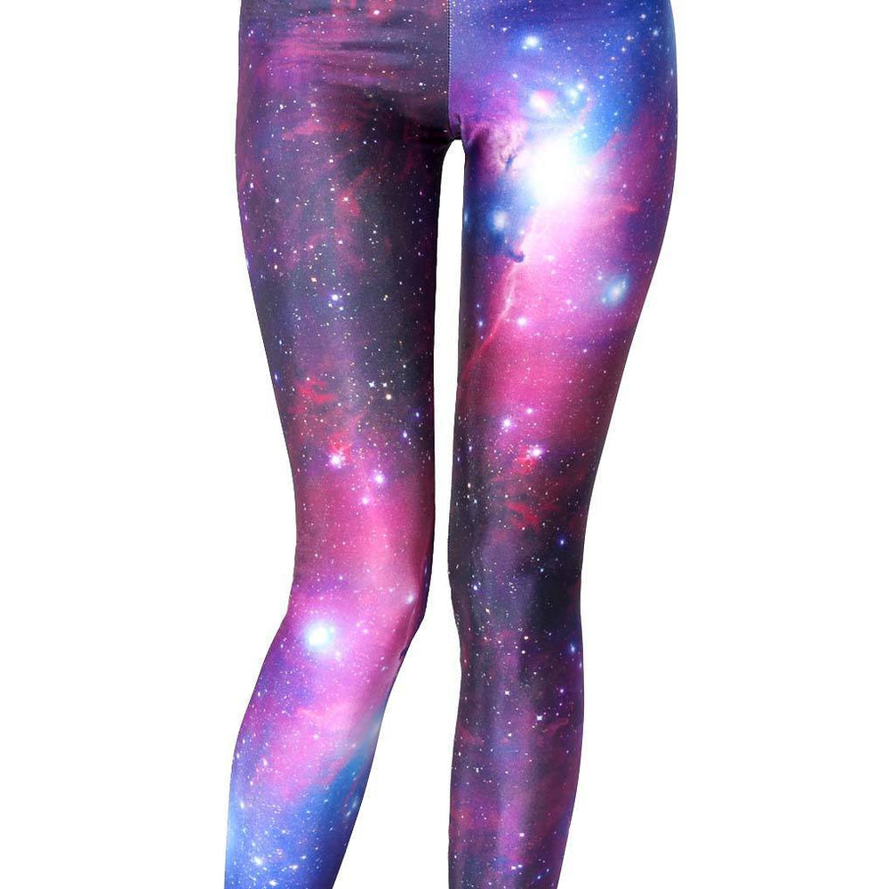 Galaxy Stars Universe Space Nebula Sky Digital Print Legging Pants for Women in Pink and Purple | DOTOLY