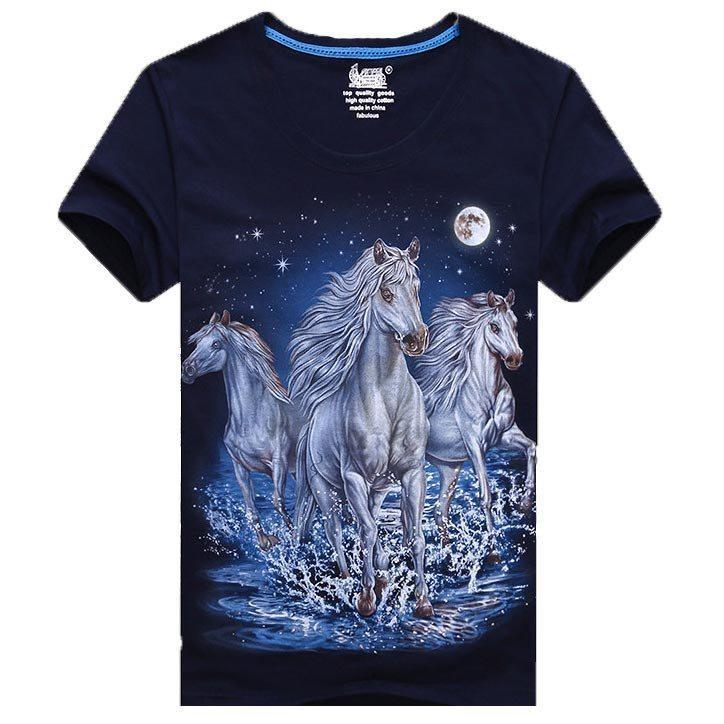 Galloping Wild White Horses Print Graphic T-Shirt in Navy | Gifts for Animal Lovers | DOTOLY