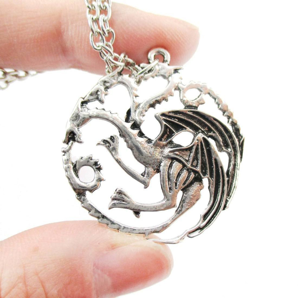 Game of Thrones House Targaryen Sigil Three headed Dragon Crest Pendant Necklace | DOTOLY