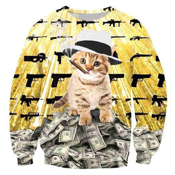 Gangster Kitty Cat on Piles of Cash with Guns and Cigar Print Unisex Pullover Sweater | DOTOLY