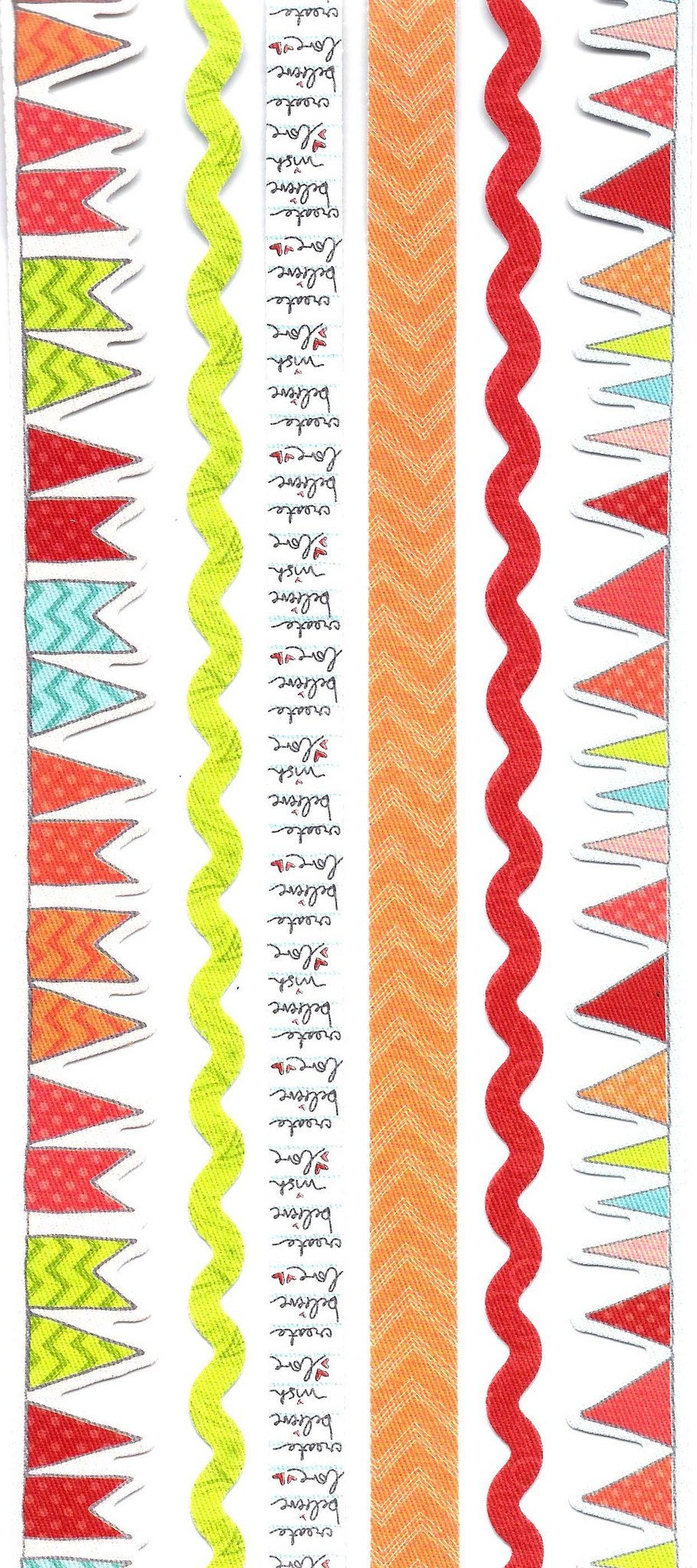 Garland Border Fabric Trim Stickers for Scrapbooking and Decorating in Shades of Red | DOTOLY