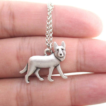 German Shepherd Dog Shaped Charm Necklace in Silver | Animal Jewelry