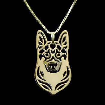 German Shepherd Dog Face Cut Out Shaped Pendant Necklace in Gold | Animal Jewelry | DOTOLY