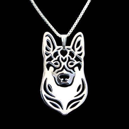 German Shepherd Dog Face Cut Out Shaped Pendant Necklace in Silver | Animal Jewelry | DOTOLY