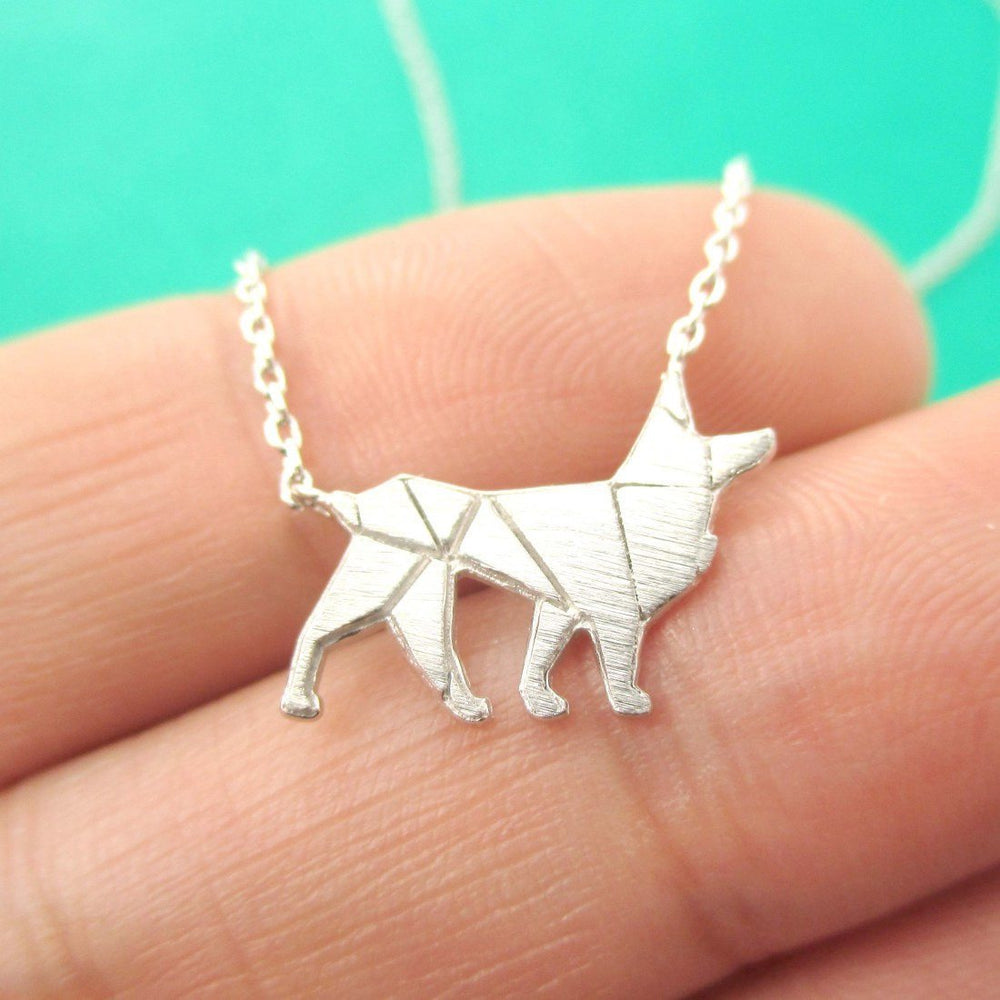 German Shepherd Dog Shaped Silhouette Charm Necklace in Silver | DOTOLY | DOTOLY