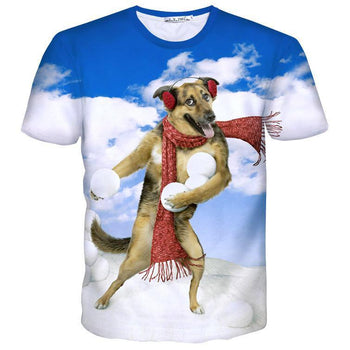 German Shepherd Puppy Throwing Snowballs All Over Graphic Print T-Shirt | DOTOLY | DOTOLY