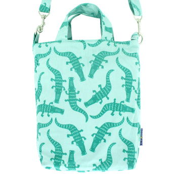 Green Crocodile Alligator Animal Pattern Crossbody Duck Top Handle Tote Bag