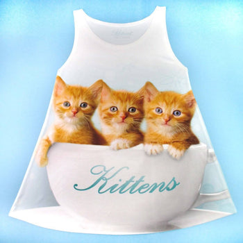 Ginger Kittens Sitting in a Teacup All Over Print Tank Top in White | DOTOLY