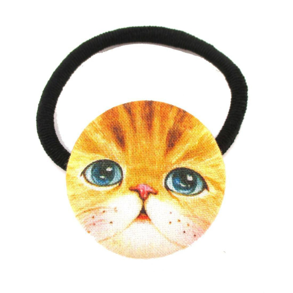 Ginger Kitty Cat Face Shaped Button Hair Tie Ponytail Holder | DOTOLY