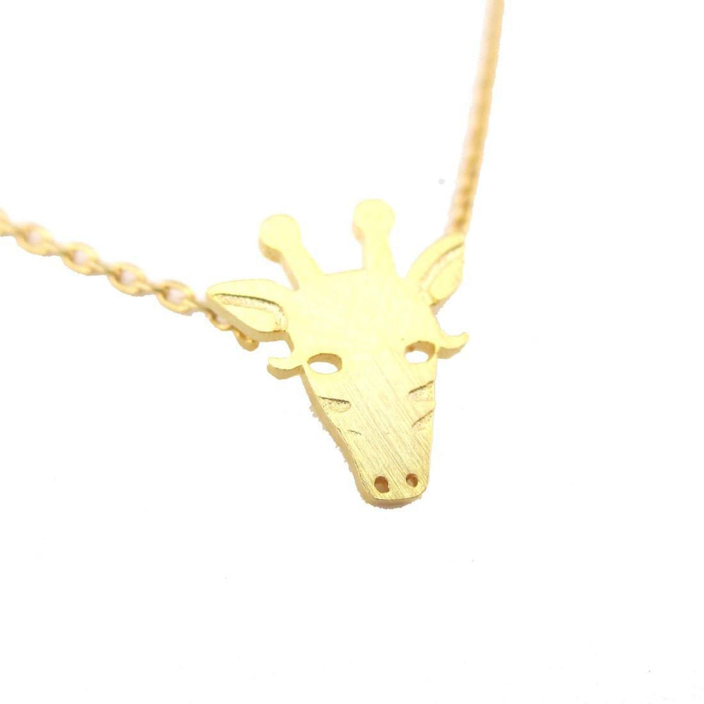 Giraffe Face Shaped Pendant Necklace in Gold | Animal Jewelry | DOTOLY