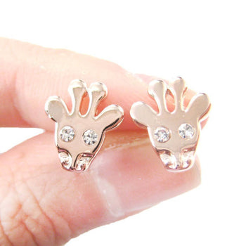 Giraffe Head Shaped Stud Earrings with Rhinestone Eyes in Rose Gold | DOTOLY