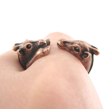 Giraffe Mother and Baby Animal Wrap Around Ring in Copper | US Sizes 5 to 9 | DOTOLY