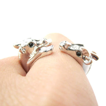 Giraffe Mother and Baby Animal Wrap Around Ring in Shiny Silver | US Sizes 5 to 9 | DOTOLY