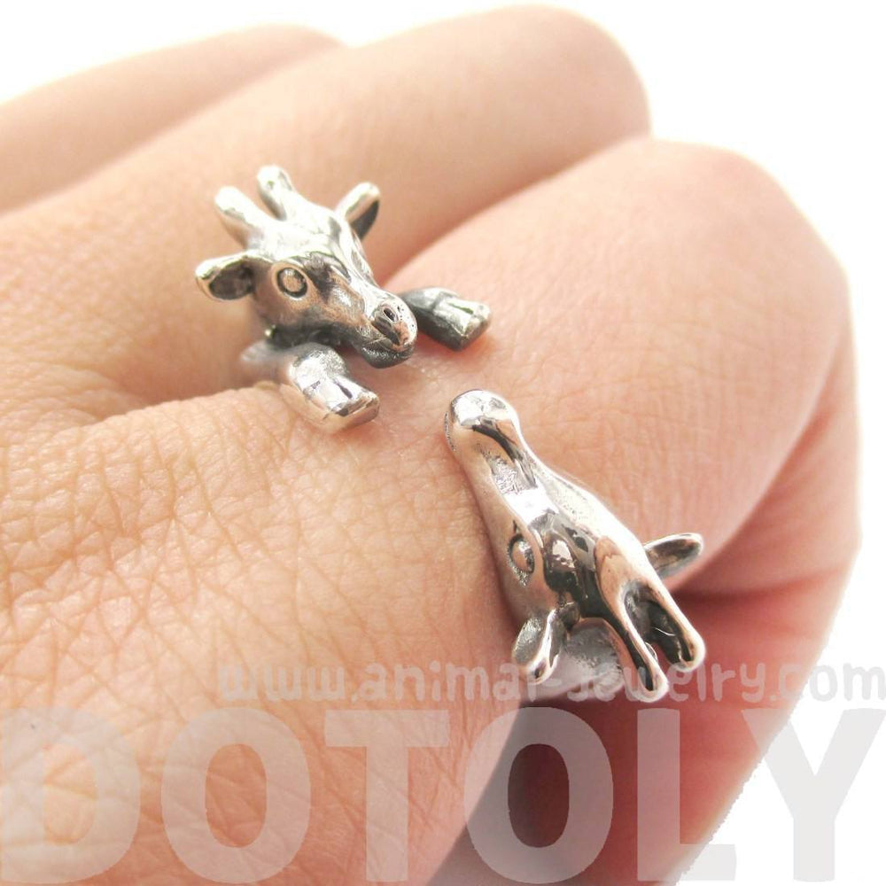Giraffe Mother and Baby Shaped Animal Wrap Ring in 925 Sterling Silver | US Sizes 5 to 8.5 | DOTOLY