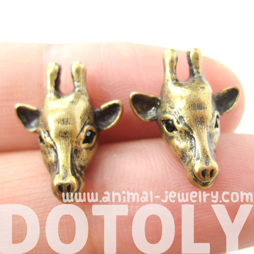 Giraffe Realistic Animal Stud Earrings in Brass | Animal Jewelry | DOTOLY