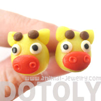 Giraffe Shaped Animal Themed Polymer Clay Stud Earrings | DOTOLY | DOTOLY