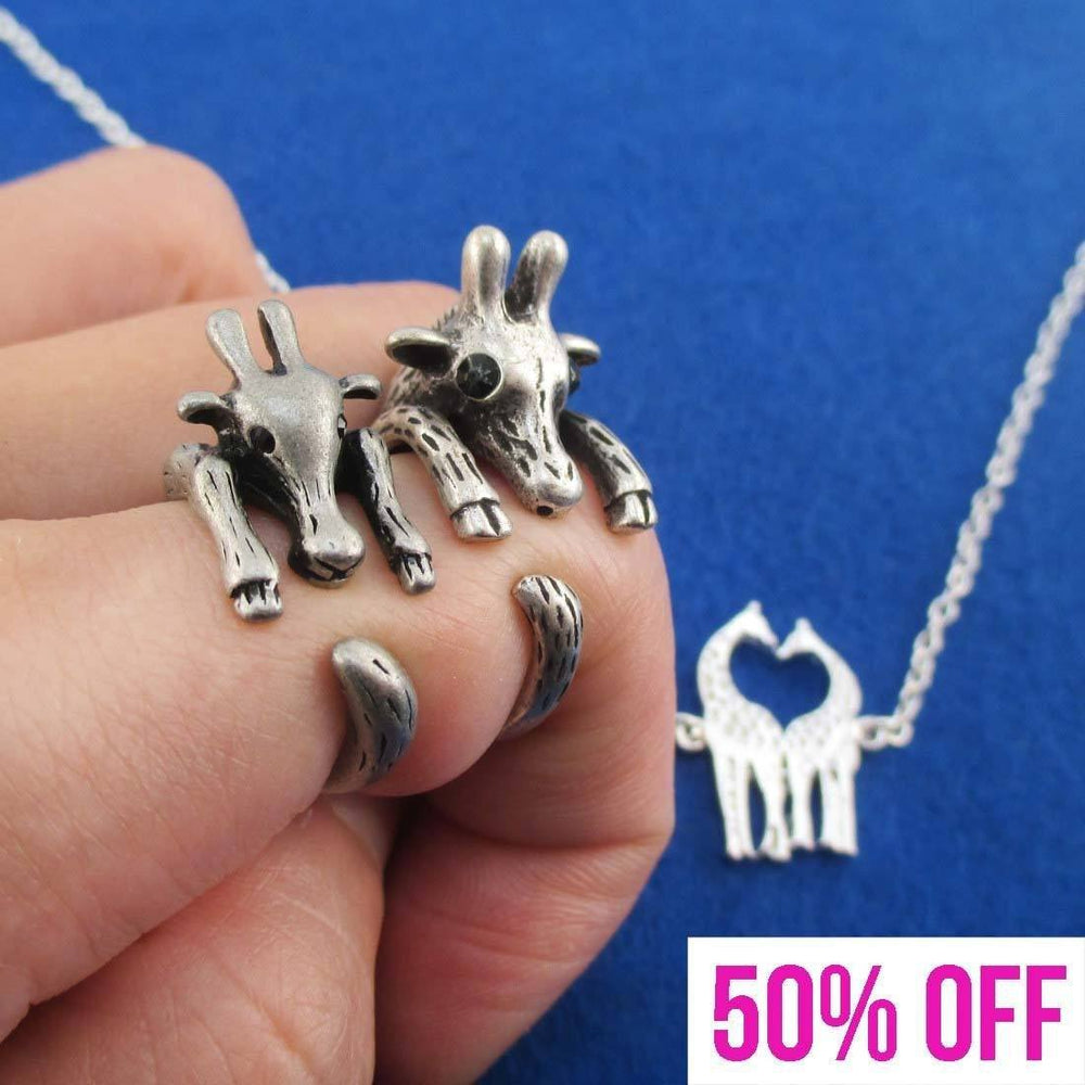 Giraffe Shaped Animal Wrap Rings and Necklace 3 Piece Set in Silver