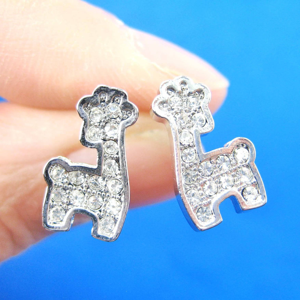 Giraffe Shaped Small Animal Stud Earrings in Silver with Rhinestones | DOTOLY