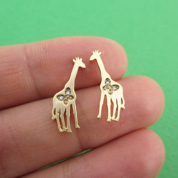 Giraffe Silhouette Shaped Allergy Free Stud Earrings in Gold | DOTOLY