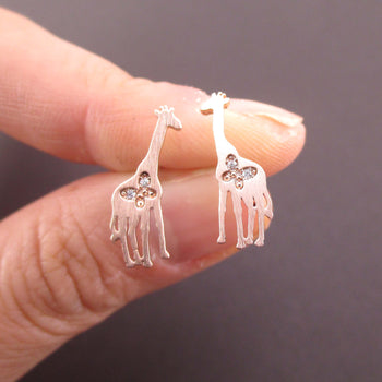 Giraffe Silhouette Shaped Allergy Free Stud Earrings in Rose Gold
