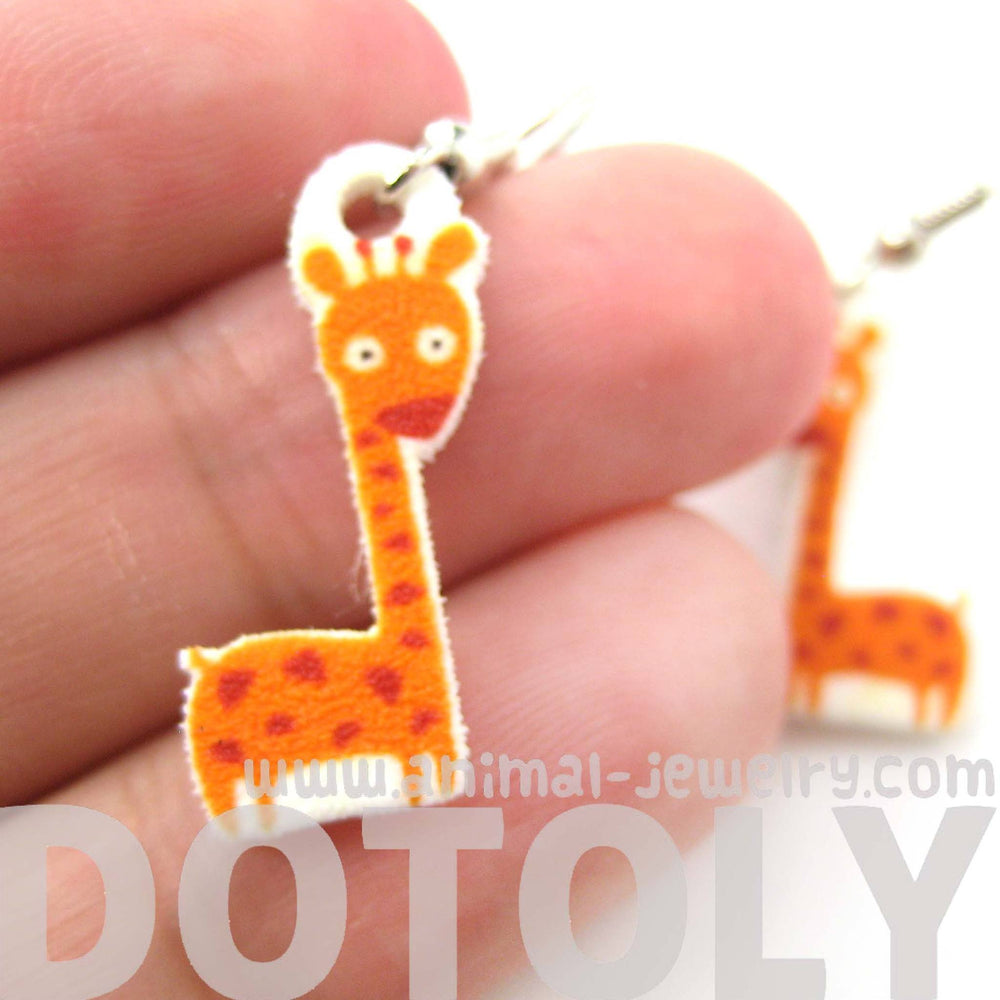 Giraffe Small Animal Illustration Dangle Earrings | Handmade Shrink Plastic | DOTOLY
