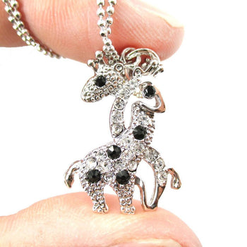 Giraffes with Necks Entwined Animal Shaped Pendant Necklace in Silver with Rhinestones | DOTOLY