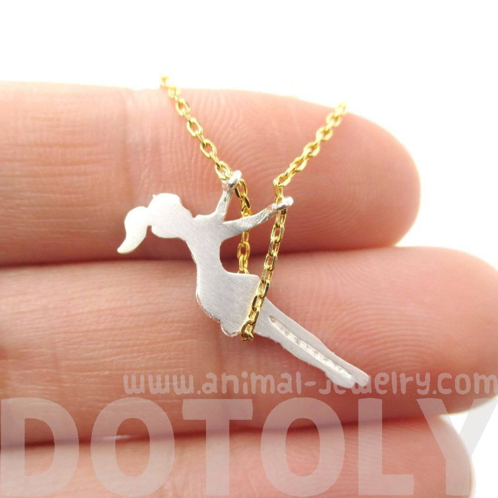 Girl Swinging on a Swing Acrobat Charm Necklace in Gold and Silver | DOTOLY | DOTOLY